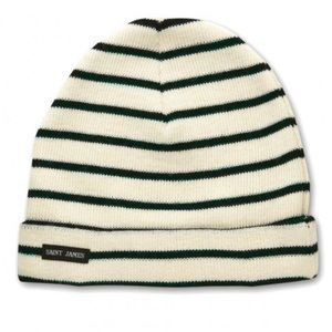 Stripey Knit Hat by Saint James in Navy and Cream 100/% Wool Made in France